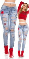 cosmodacollection Sexy Skinny Jeans DeStroyed look with patches Jeansblue