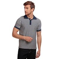 fiftiesstore Pablo Dogtooth Polo Shirt Navy