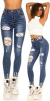 cosmodacollection Sexy Skinny Jeans Used Look with lace Jeansblue