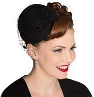 fiftiesstore Marilyn Fascinator Zwart