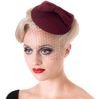 fiftiesstore Candice Fascinator Bordeaux