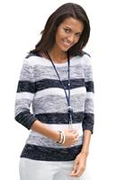 Collection L Pullover, wit/marine gestreept