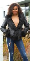 cosmodacollection Sexy leatherlook jacket lined with fake fur Black