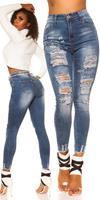 cosmodacollection Sexy High Waist Skinny Jeans used look w. print Jeansblue