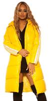 Trendy Long Winter jacket with hood Yellow