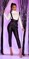 cosmodacollection Sexy lederlook paperbag broek met bretels zwart
