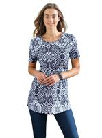 Your look for less! Lang shirt, marine geprint