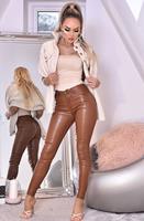exclusivepremium Jordan Leatherette Pocket Detail Trousers Brown