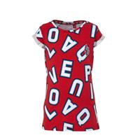Quapi T-shirt Aisha met all over print rood/wit/blauw