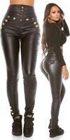 cosmodacollection Sexy Highwaist Lederlook broek Zwart