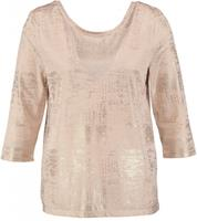 Only shiny shirt 3/4 mouw cream tan polyester stretch