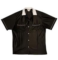 fiftiesstore Get Your Kicks On Route 66 Bowlingshirt, Black