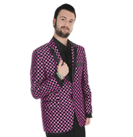 fiftiesstore Show Jacket Dark Pink Checker Spots