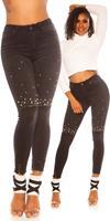 cosmodacollection Sexy skinny hoge taille jeans gebruikte used look met fake pearls zwart