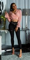 cosmodacollection Sexy skinny hoge taille jeans destroyed look zwart
