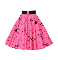 fiftiesstore Music Notes Skirt Roze