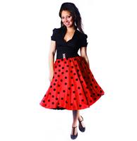 fiftiesstore Skirt Satin Polka Red / Black