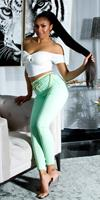 cosmodacollection Trendy skinny jeans in pastel kleur groen