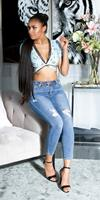cosmodacollection Trendy skinny hoge taille jeans gebruikte used look blauw