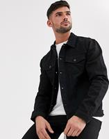 New Look - Regular-fit denim jack in verwassen zwart