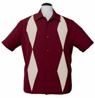fiftiesstore Diamond Duo Shirt Burgundy