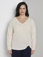 TOM TAILOR MY TRUE ME Sweatshirt met knoopdetail, Dames, Whisper White