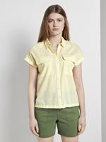 Tom Tailor Gestreept overhemd in een boxy fit, Dames, yellow white vertical stripe