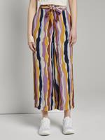 Tom Tailor Stromende culotte met stropdas riem, Dames, wavy multicolor stripes