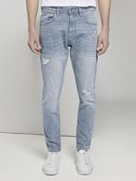 Tom Tailor Taps toelopende Conroy Stretch Jeans met Destroys, Heren, light stone blue grey denim