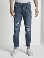 Tom Tailor Cropped Conroy Jeans met vernietigt, Heren, Destroyed Light Stone Blue Den