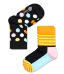 Happy Socks Sokken Kids Socks 2-Pack Big Dot Zwart