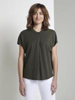 Tom Tailor Halsband T-Shirt, Dames, Woodland Green