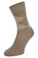 Boru Bamboe sokken met ruiten motief-Beige-35/38