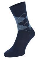 Boru Bamboe sokken met ruiten motief-Navy-35/38