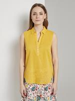 Tom Tailor Mouwloze Henley blouse met zijsplitten, Dames, deep golden yellow