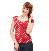 fiftiesstore Dolores Blouse Polka Red/White