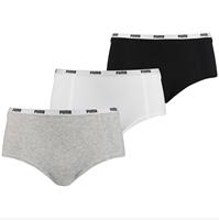 puma mini short 3 pack wit grijs en zwart