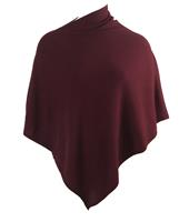 bouffante Kasjmier-blend poncho in bordeauxrood