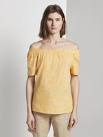 Tom Tailor Blouse met korte mouwen en hals, deep golden yellow