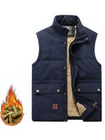 newchic Casual Comfy Outdoor Waterproof Thicken Fleece Multi Function Pockets Solid Color Vest