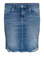 Only Curvy Destroyed Denim Rok Dames Blauw