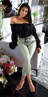 cosmodacollection Trendy hoge taille lederlook broek groen