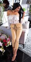 cosmodacollection Trendy hoge taille lederlook broek beige