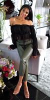cosmodacollection Trendy hoge taille lederlook broek khaki