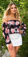 cosmodacollection Sexy off-shoulder crop top met bloemen-print zwart