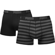 Puma Men's 2 Pack Striped Boxers - Black/Grey - Zwart/Grijs