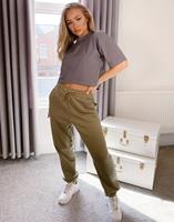 missguided Oversized joggingbroek in kaki, combi-set-Groen