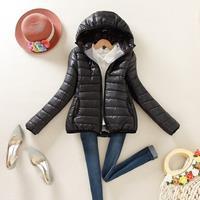 Warme winterparka jas dames dames slanke korte jas, maat: M (zwart)