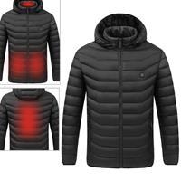 USB verwarmde slimme constante temperatuur capuchon warme jas voor mannen en vrouwen (kleur: zwart maat: l)