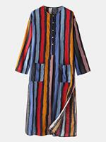 newchic Plus Size Multi-Color Striped Home Soft Long Sleeve Loungewear Robe With Waist Pockets